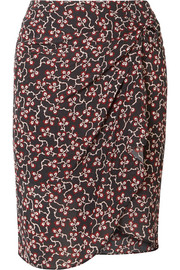 Isabel Marant Livia draped printed silk crepe de chine mini skirt