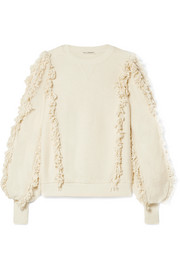 Hali fringed cotton-terry top