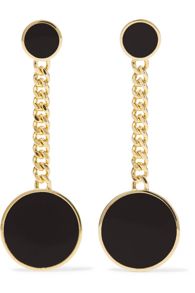 ARME DE L'AMOUR Gold-Plated And Enamel Earrings in Black