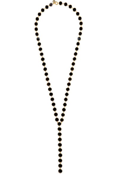ARME DE L'AMOUR Gold-Plated And Enamel Necklace in Black