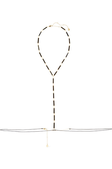 ARME DE L'AMOUR Gold-Plated, Enamel And Cord Body Chain in Black