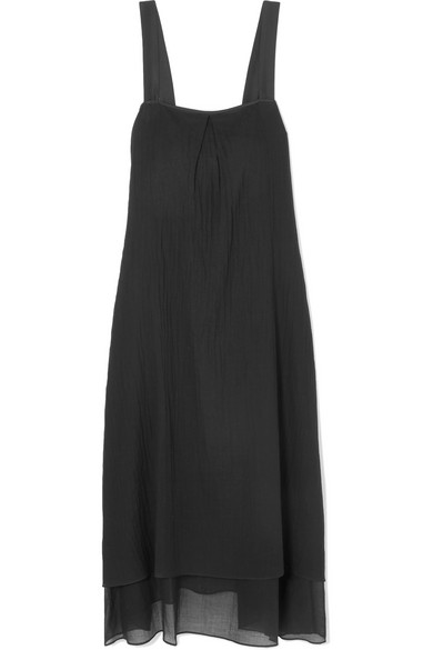 Silk-trimmed Crinkled Cotton-voile Midi Dress - Black Theory Sale Clearance Store Deals ICI7MI