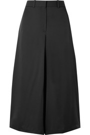 Cropped silk wide-leg pants