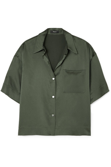 Cropped Washed Silk Shirt by Theory
