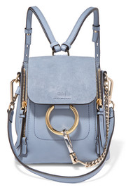 Chloé Faye mini textured-leather and suede backpack