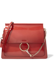 Faye medium glossed-leather shoulder bag