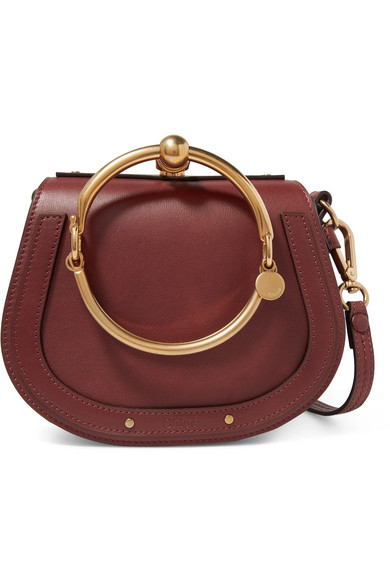 Nile Bracelet Small Leather And Suede Shoulder Bag in Burgundy