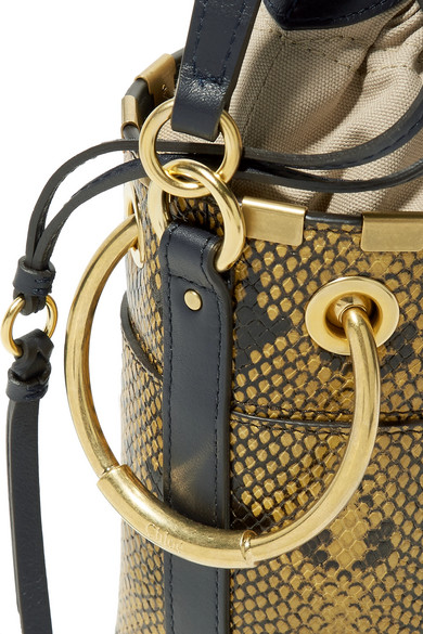 b689be2c5d6d Chloé. Roy mini snake-effect leather bucket bag. £538. Zoom In
