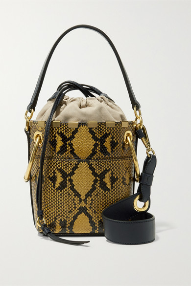 63e507aff20 Chloé | Roy mini snake-effect leather bucket bag | NET-A-PORTER.COM