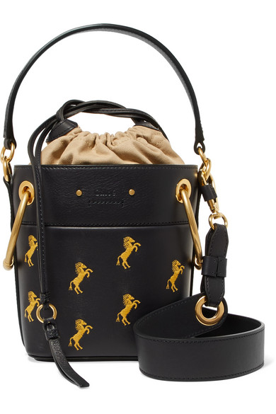 d1d41c72aa237 Chloé | Roy mini embroidered leather bucket bag | NET-A-PORTER.COM