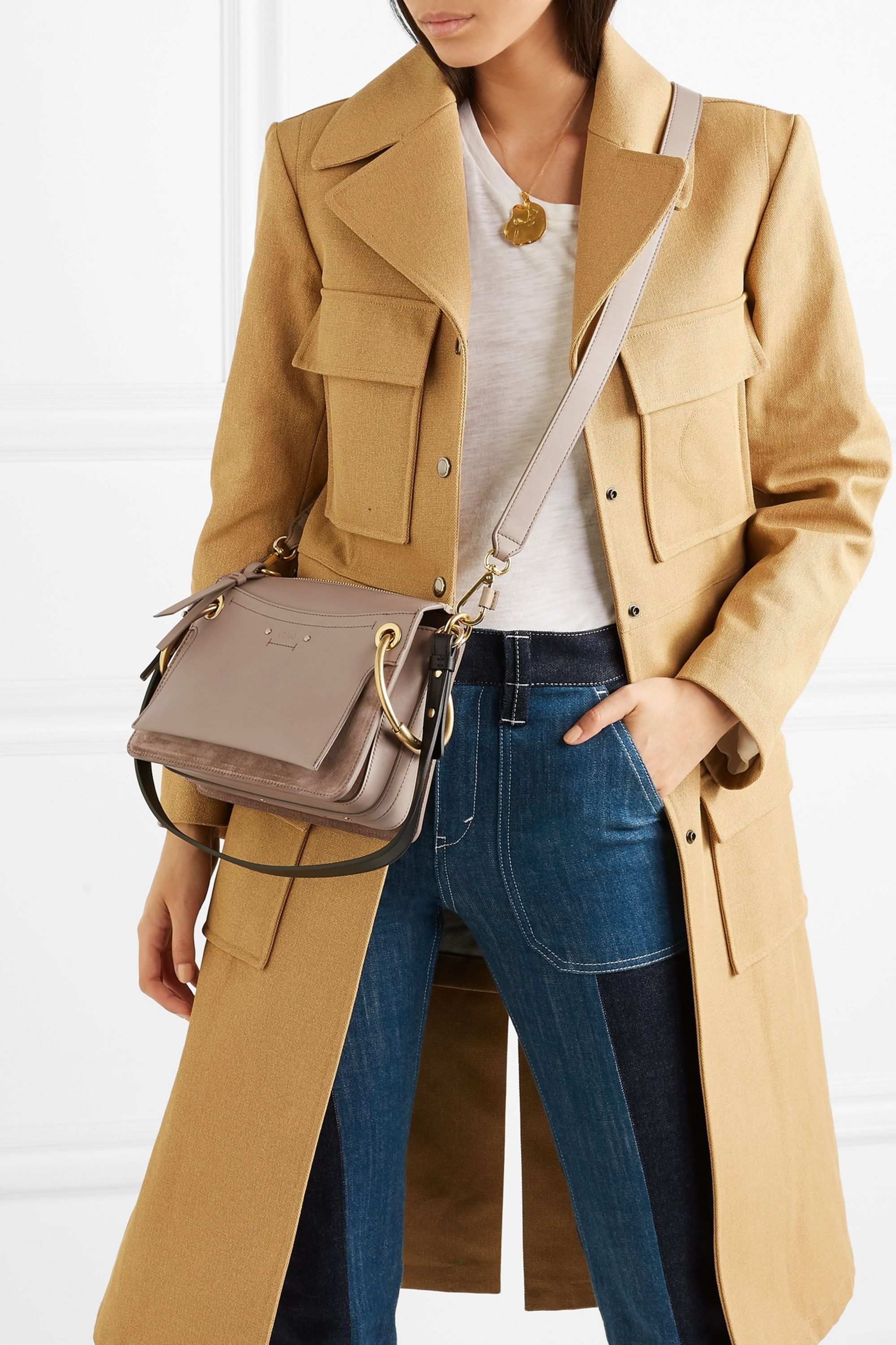 Chloé Roy Day leather and suede shoulder bag