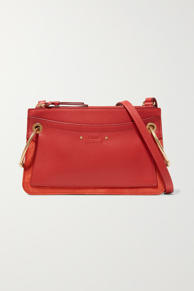 Chloé - Roy Mini Leather And Suede Shoulder Bag - Red