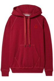 Malibu flocked cotton-blend jersey hooded top