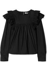 Matias ruffled broderie anglaise-trimmed cotton-poplin blouse