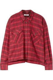 Delora cropped checked cotton-flannel shirt
