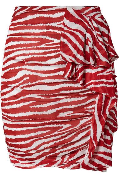 Isabel Marant Étoile - Jerine Ruffled Zebra-print Chiffon Mini Skirt - Red