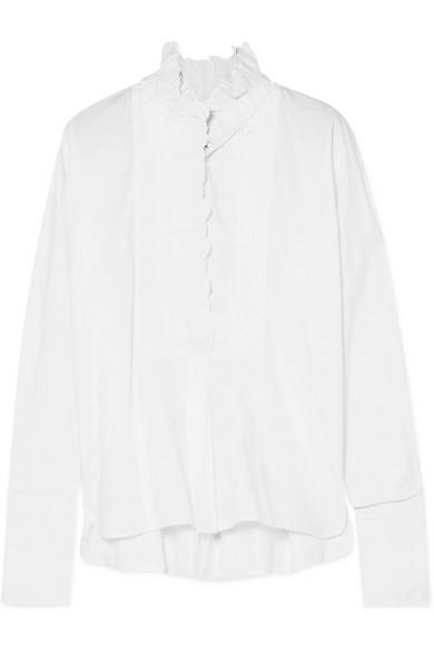 Isabel Marant Étoile - Mora Oversized Crochet-trimmed Cotton-poplin Shirt - White