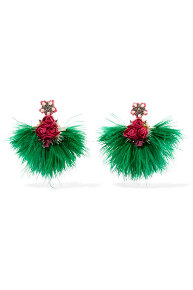 Swan Feather, Mother-Of-Pearl And Crystal Clip Earrings in Green