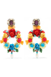 Lovebird mother-of-pearl, raffia and crystal clip earrings