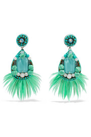Ranjana Khan Jae feather and crystal clip earrings