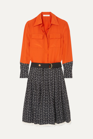 ChloÉ Lace-Trimmed Printed Silk Crepe De Chine Dress In Orange