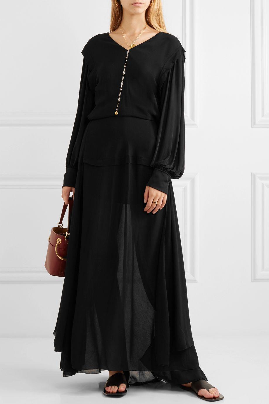 Chloé Satin-jersey and chiffon maxi dress