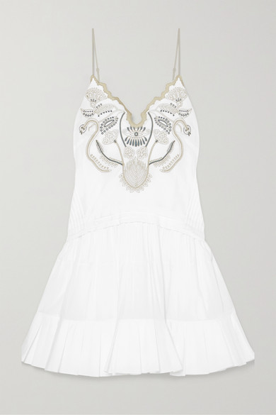 RUFFLED EMBROIDERED COTTON-VOILE MINI DRESS