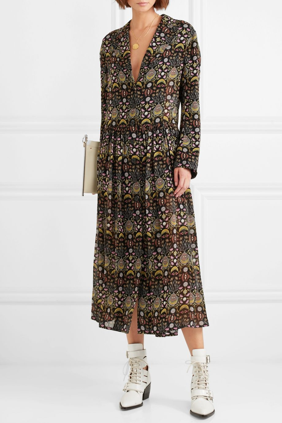 Chloé Pleated printed georgette midi dress