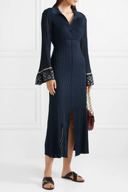 Chloé Printed georgette-trimmed ribbed stretch-knit midi dress
