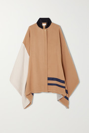 Color-block wool-blend cape