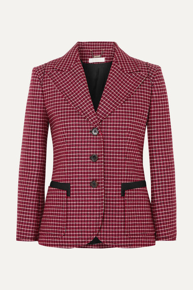 Chloé - Canvas-trimmed Checked Wool-blend Blazer - Red