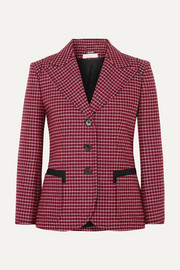 Canvas-trimmed checked wool-blend blazer