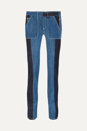Chloé Two-tone high-rise straight-leg jeans