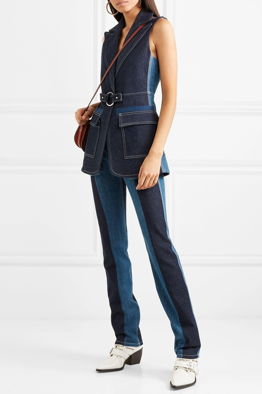 Chloé Two-tone high-rise straight-leg jeans