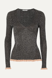 Chloé Ribbed silk-blend Lurex sweater