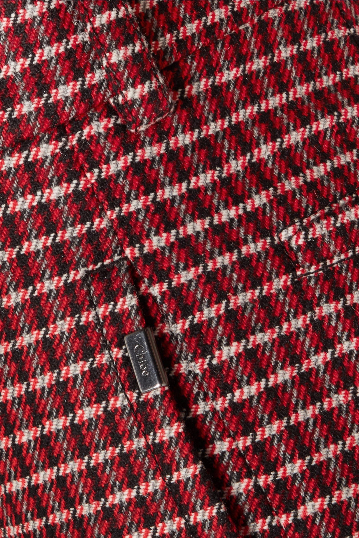 Chloé Cropped checked wool-blend wide-leg pants