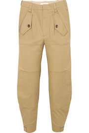 Cropped cotton-blend gabardine tapered pants