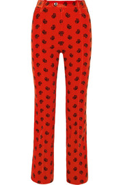Printed cotton-blend corduroy slim-leg pants