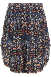 Pleated floral-print georgette shorts