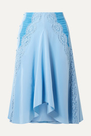 Chloé Ruched lace-trimmed silk crepe de chine skirt