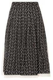 Chloé Lace-trimmed pleated printed washed-silk midi skirt