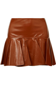Chloé Pleated glossed-leather mini skirt