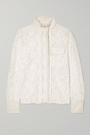 Chloé Ruffled silk-trimmed cotton-blend lace blouse