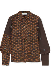 Chloé Embellished printed silk-crepe blouse