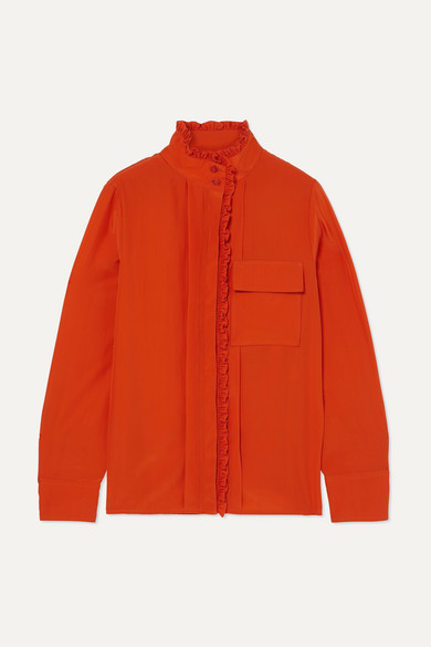 Ruffled Silk Crepe De Chine Shirt, Orange