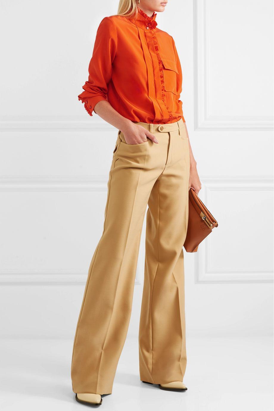 Chloé Ruffled silk crepe de chine shirt
