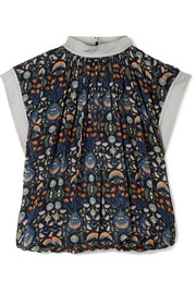 Chloé Grosgrain-trimmed printed georgette top