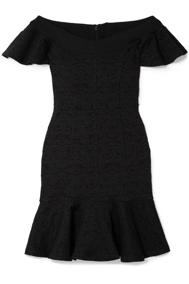 Off-the-shoulder Floral-jacquard Mini Dress - Black Opening Ceremony AFplfk