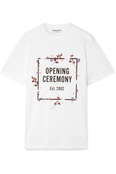 Floral Logo Graphic Crewneck Tee in White