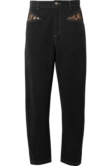 OPENING CEREMONY LACE-TRIMMED HIGH-RISE STRAIGHT-LEG JEANS